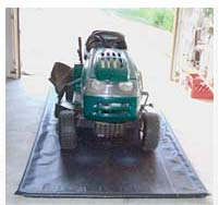 Put a MATS FOR SPLATS under your lawnmower to protect your garage floor